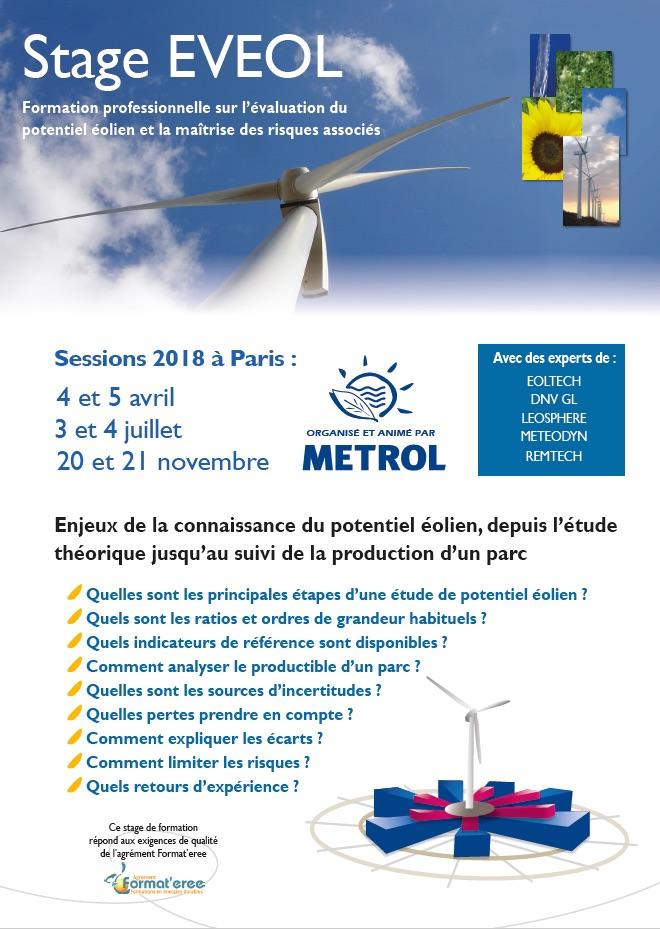 Formation professionnelle EVEOL : Enjeux de la connaissance du potentiel éolien, depuis l'étude théorique jusqu'au suivi de la production d'un parc.